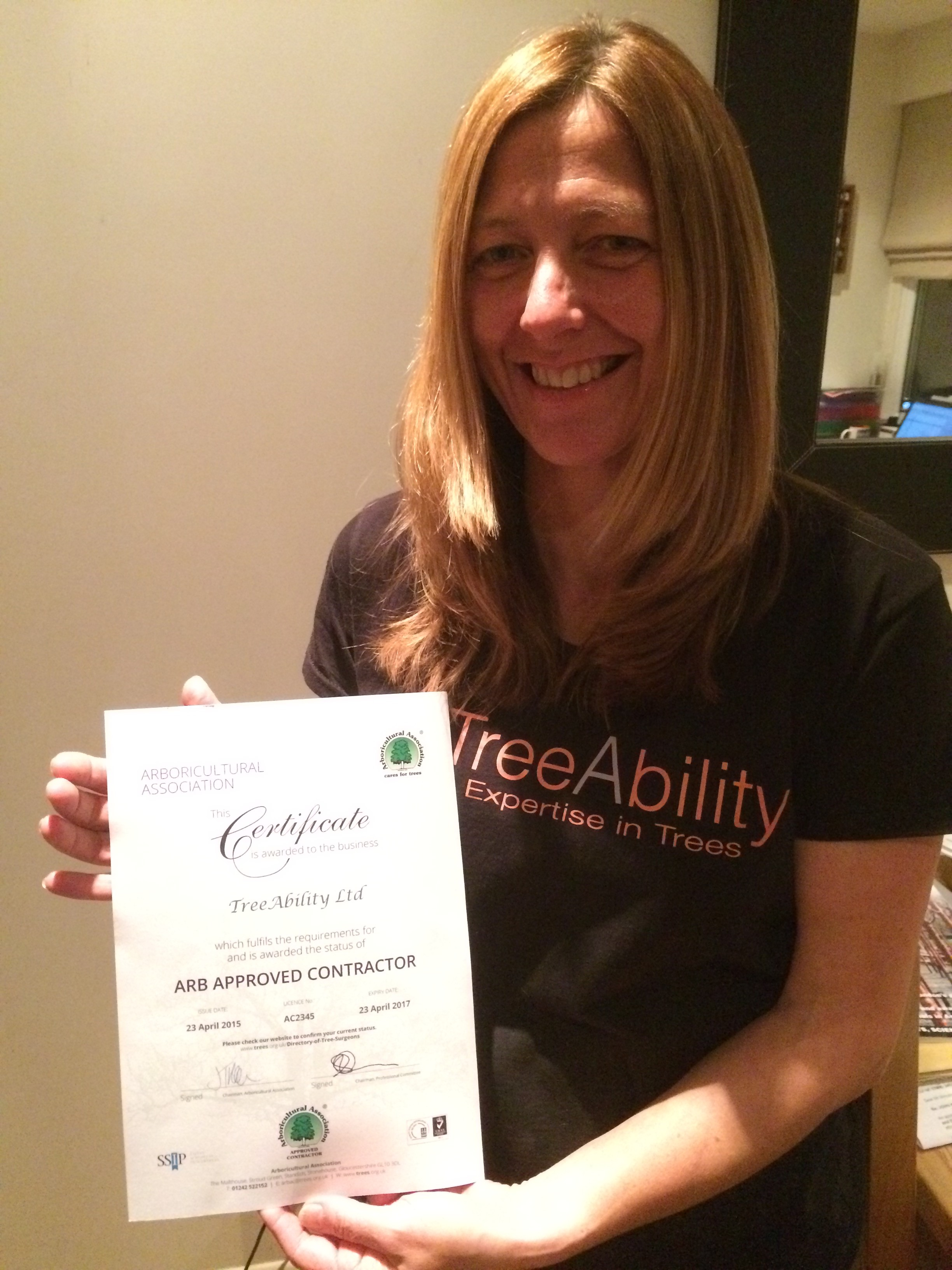 TreeAbility Arboricultural Association Certificate